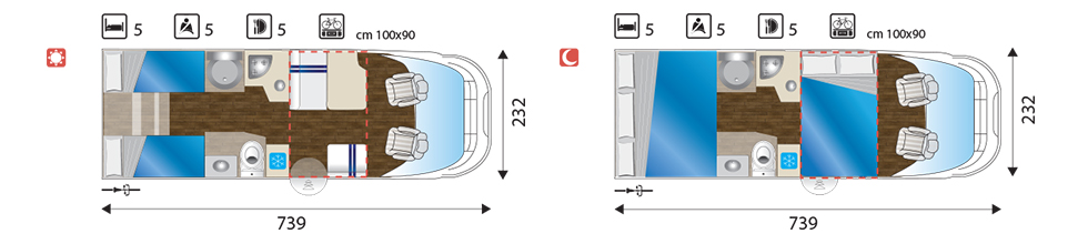 Campers Brabant foto | Sun Driver T580/T595 layout