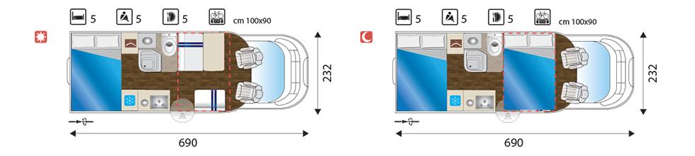 Camper layout van onze sun driver T 550