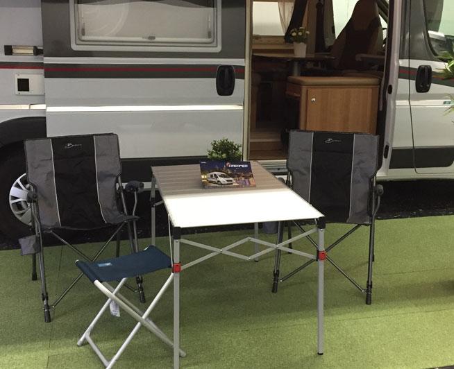 Luxe lichtgewicht camper oprolbare tafel en opvouwstoelen