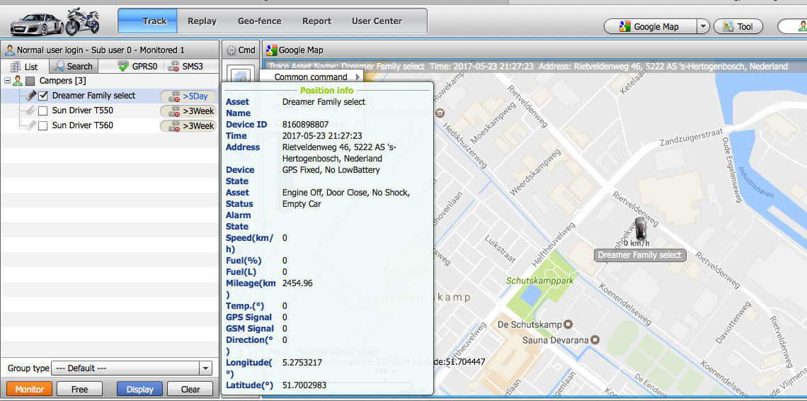 Web based camper tracking systeem met uitgebreide informatie