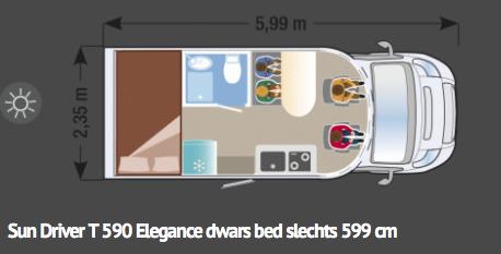 Sun Driver T590 Elegance - dwars bed - 5,99m lang