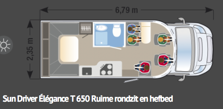Sun Driver T650 Élégance-rondzit met hefbed-6,79 lang