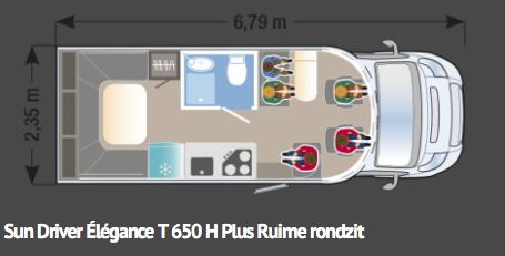 Sun Driver T650 H Élégance-rondzit-hefbed-6,79m lang