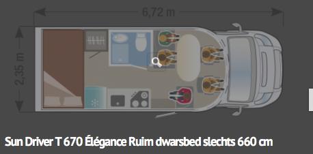 Sun Driver T670 Élégance-dwarsbed- 6,72m lang