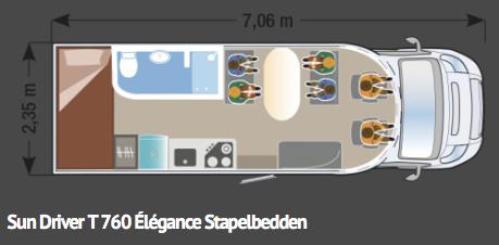 Sun Driver T760 Élégance Stapelbedden - 7,06m lang