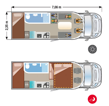 Campers Brabant SUN DRIVER T760 layout